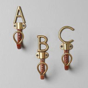 Anthropologie Equestrian Leather Monogram Hook